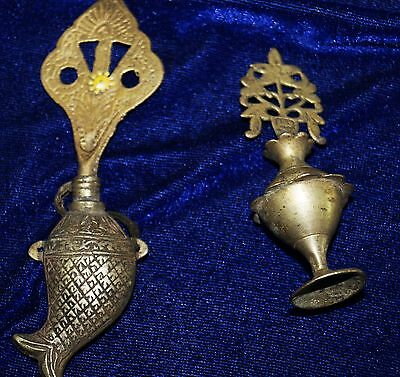 Antique Brass Or Bronze 2 Surmadani Khol Perfume Bottle From India