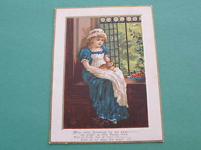 Large Victorian Christmas New Year Greeting Card Girl with Cat