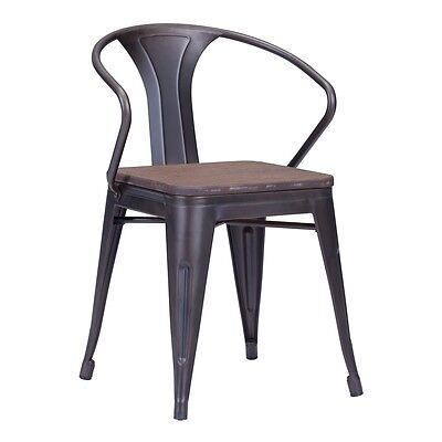 ZuoMod HELIX DINING CHAIR RUSTY+ELM WOOD TOP, Set of 2