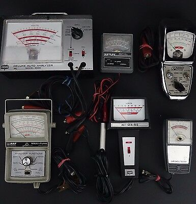 Lot of 5  Misc. Volt Amp Dwell RPM Auto Analyzer Meters Made in USA