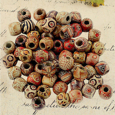 100pcs 12mm Mix Round Wooden Beads Jewelry Making Loose Spacer Charms Craft DIY