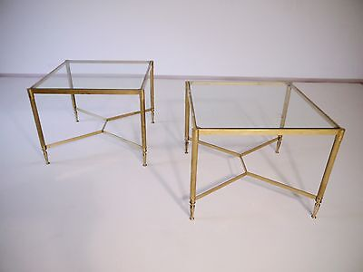 1 of 2 VINTAGE MID CENTURY 60s 70s HOLLYWOOD REGENCY BRASS GLASS SIDE TABLE