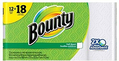 Bounty Paper Towels, White, Giant Rolls-12 Ct