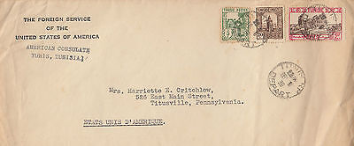 H 1200 Tunisia 1939 cover to USA, from American Consulate