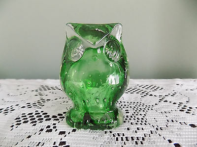 Vintage LEFTON Japan Green BUBBLE ART GLASS OWL PAPERWEIGHT Figurine CUTE!!