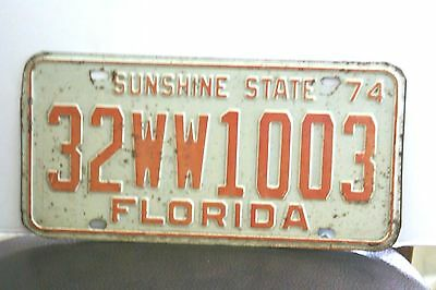 1974 Florida Sunshine State License Plate Tag 32WW1003 Good Condition