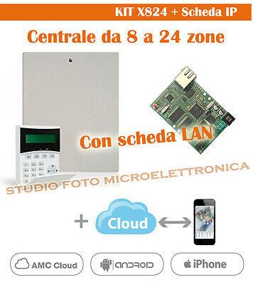 KIT Antifurto con APP SmartPhone - Centrale ibrida, Filare Wireless AMC X824-IP1