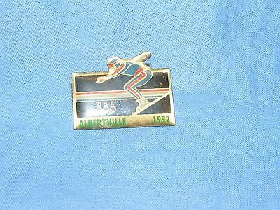 Olympic Games Badge Winter Olympics 1992 Albertville USA Skiing  Button Enamel