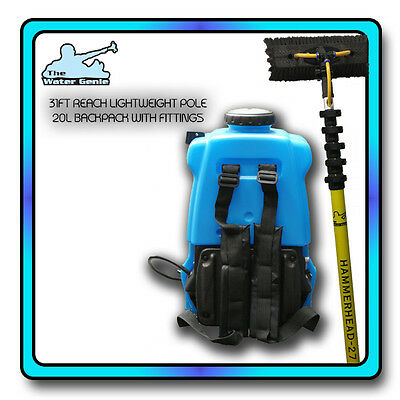 Window Cleaning Waterfed Pole Backpack & 31Ft Telescopic Extendable Brush