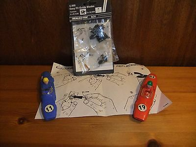 Tri-ang Scalextric Body shells C67 Lotus Red 19 C66 Cooper Blue 11 +Spare Braids