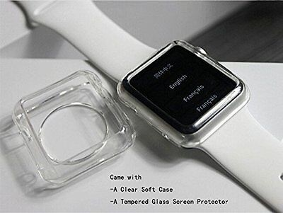 Apple Watch Screen Protector 1 and 2 Premium Tempered Glass Full Cover Film NEW