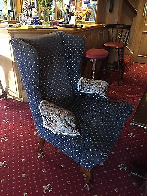 Chesterfield Vintage Wingback Chair For Reupholstering