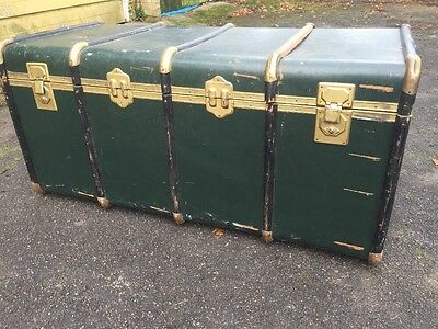 Large Vintage Italian Seaman Trunk Steamer Chest Blanket Box