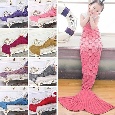 Kids Children Crocheted Mermaid Tail Handmade Knit Fish Scale Lapghan Blankets