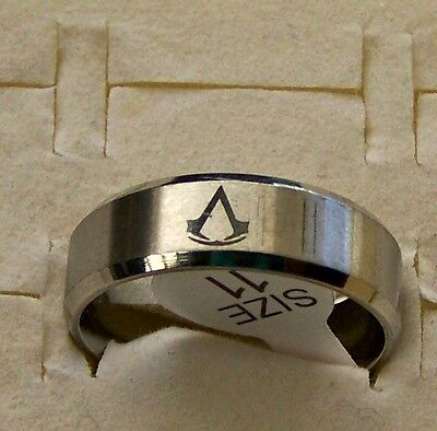 Size:6  ~Assassin's _ Creed  ~ Silver ~ S/steel ~  Ring --- (Great_ Gift)