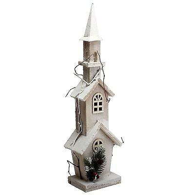Silver Sparkle White Wooden Church House with LED Lights Christmas Decoration