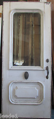 Turn of the Century Front Entry Door 34 x 81 Top Half Wavy Glass Brass Hardware