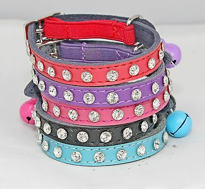 Cat Collar Diamante stones safety elastic bell Bling 12 diamante leather kitten