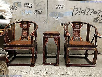 "40"" China old wood lacquerware dragon phoenix palace chair pair and tea table"
