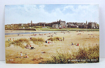 POSTCARD: St. Andrew's From The Sands; Valentine's 'Art Colour'; Scotland; Upost