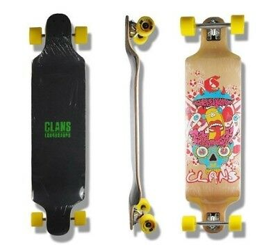 CLANS Longboard, (CRAZY), Great Drop deck complete skateboard, Top selling Gift