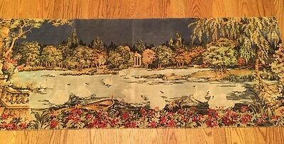Vintage Tapestry Swans Wallhanging Rug Wall Hanging