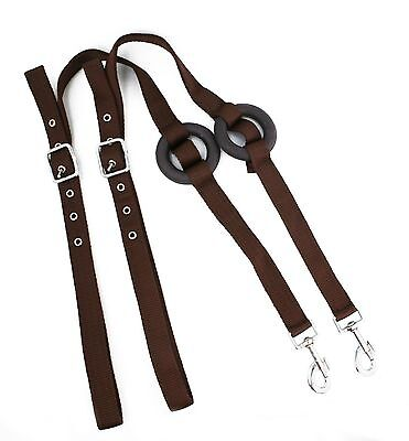 *Quality Nylon Side Reins Rubber Ring, One Size Brown*