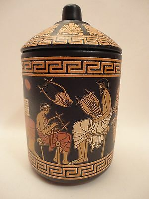Archaeological Music School Scenes Rare Ancient Greek Art Pottery Vase Canister