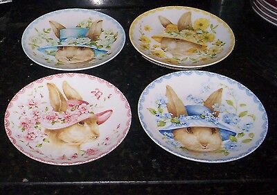 222 Fifth Bunny Party Plates & Bowls NWT S/8 Children's Dishes Rabbits