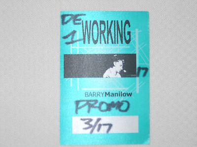 Barry Manilow 2002-satin backstage pass working crew March 17, 2002-color green