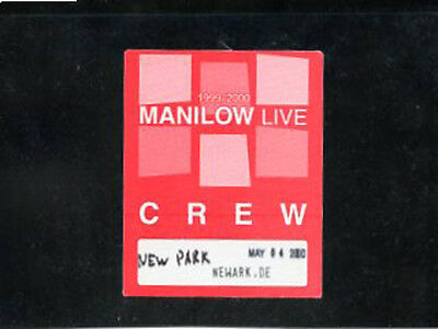Barry Manilow 2000 Live -satin backstage pass crew May 4 - color red