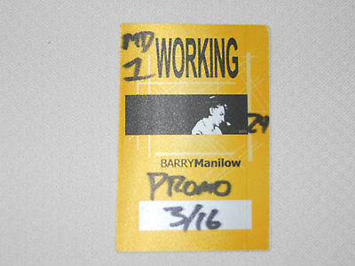 Barry Manilow 2002-satin backstage pass working crew March 16, 2002-color yellow