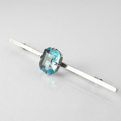 Vintage Charming And Beautifully Coloured Blue Stone Silver Bar Brooch / Pin.