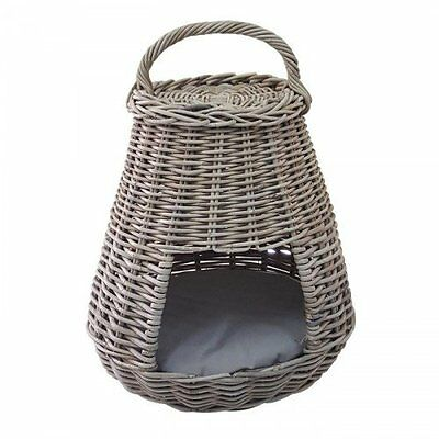 Dog Cat Bed Basket Igloo with Removable Cushion Rattan Modern Grey Design Handle