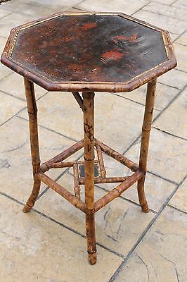 Antique Bamboo Victorian Lacquered Octagonal Hand Painted Side End Table #1