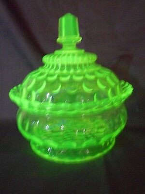 Antique Central Glass Canary Vaseline #796 Rope & Thumbprint Covered Butter Dish