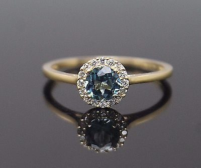 Superb London Blue Topaz Diamonique Cz Accent Solid 10K Yellow Gold Ring Size 7