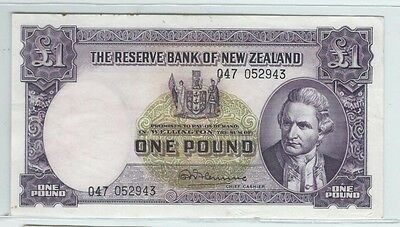 Reserve Bank of New Zealand 1 pound banknote - see scan