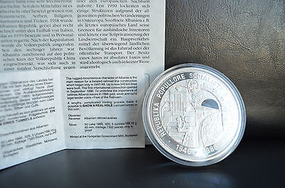 1988 STERLING SILVER 168g 50 LEKE ALBANIA COIN