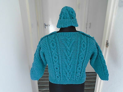 New Hand Knit Unisex Jumper + Hat Sky Blue Arran Wool / Acrylic  Chest Size 32""