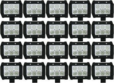 Package of 20 4 Inch 18W Non Cree LED Spot Light Bars for SUV Jeep Truck