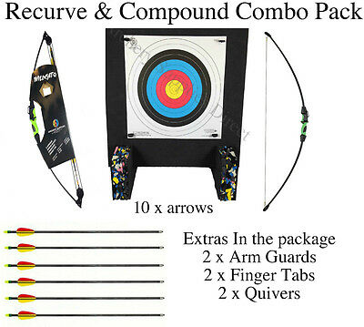 ASD Wildcat Combo Kids Archery Twin Pack 2 bows With Target, Faces, Pins, Arrows