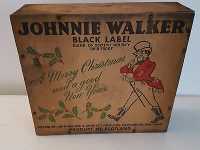 Vintage Johnnie Walker Red Label Wooden Box Merry Christmas & Good New Year