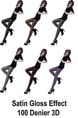 Women's Satin De Luxe Tights 100 Denier 3D, High Gloss, Shiny Opaque Tights