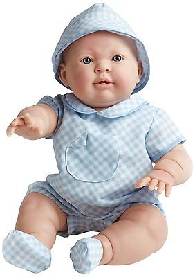 Lucas 18'' Baby Boy in Blue Checked Outfit by JC Toys Berenguer, NRFB