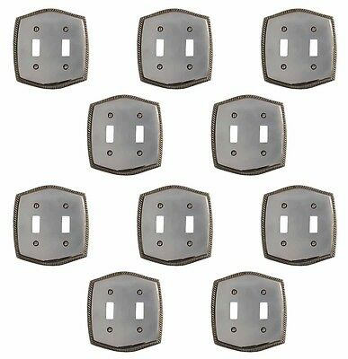 10 Switchplate Chrome 5 1/4 H Braided Double Toggle | Renovators Supply