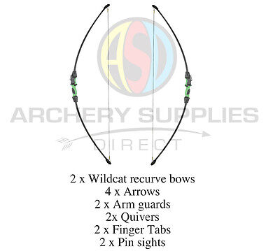 ASD WILDCAT RECURVE ARCHERY BOW DOUBLE PACK COMBO 2 bows + Loads of extras !