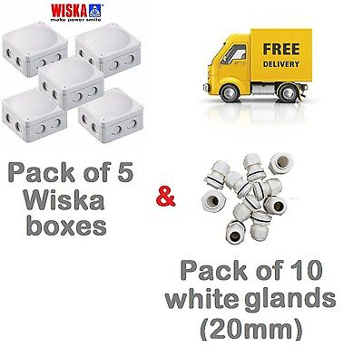 5x Wiska 308/5 Outdoor Junction Boxes and 10x White 20mm IP66 Compression Glands