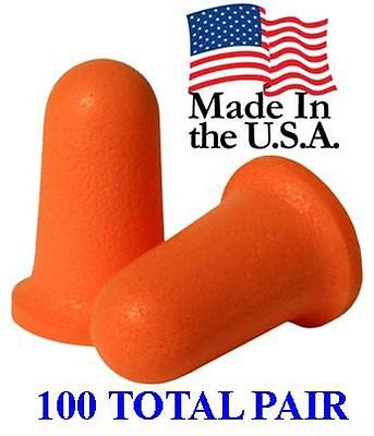 Disposable Uncorded Foam Earplugs, 100 Pairs Individually Wrapped NRR33
