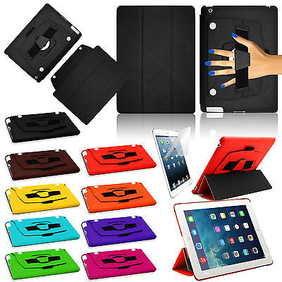 Genuine Case Hand Strap Leather Smart Flip Stand 360 R Cover for All Apple iPad